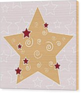 Christmas Star Wood Print by Frank Tschakert