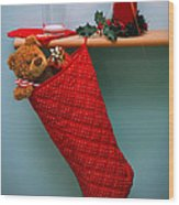 Christmas Stocking Filled With Presents With Empty Milk Glass.  Wood Print