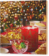 Christmas Table Set Wood Print by Carlos Caetano
