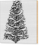 Christmas Tree Bw Wood Print