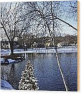 Christmas Tree By The Lake Wood Print