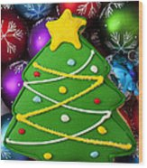 Christmas Tree Cookie With Ornaments Wood Print