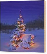 Christmas Tree Glowing Wood Print