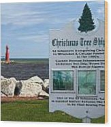Christmas Tree Ship Point At Algoma Harbor Wood Print by Mark J Seefeldt