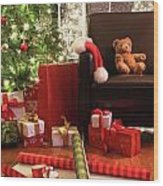 Christmas Tree With Gifts Wood Print