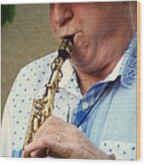 Christopher Mason Alto Sax Player Wood Print