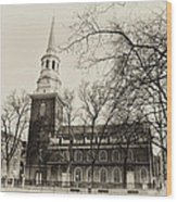 Christs Church Philadelphia In Sepia Wood Print