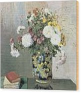 Chrysanthemums In A Chinese Vase Wood Print