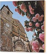 Church And Roses Wood Print