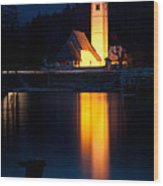Church At Dusk Wood Print