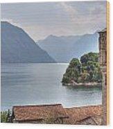 church at the Lake Como Wood Print