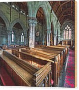 Church Benches Wood Print
