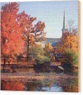 Church In Autumn Wood Print