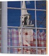 Church In Cafe Window Wood Print