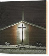Church In The Snow Wood Print
