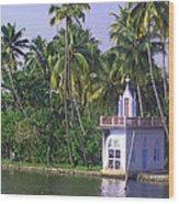 Church Located On A Coastal Lagoon In Kerala In India Wood Print