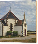 Church Off The Brittany Coast Wood Print