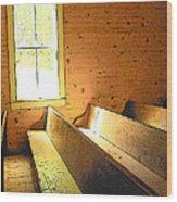 Church Pews - Light Through Window Wood Print