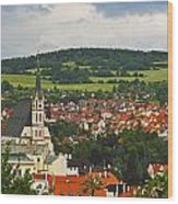 Church Spire In The Old Town Cesky Wood Print
