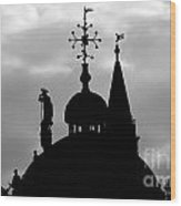 Church Spires Silhouetted Bw Wood Print