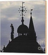 Church Spires Silhouettes Wood Print