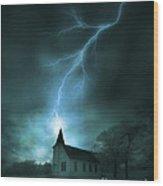 Church Struck By Lightning Wood Print