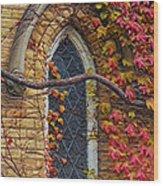 Church Window Autumn Wood Print