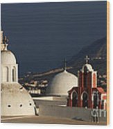 Churches In Fira Greece Wood Print