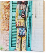 Cigar Store Indian - New Orleans Wood Print