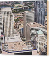 Cincinnati Aerial Skyline Downtown City Buildings Wood Print