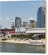 Cincinnati Ohio Skyline And Riverfront Wood Print