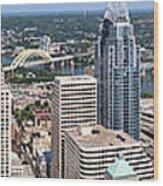 Cincinnati Panorama Aerial Skyline Downtown City Buildings Wood Print by Paul Velgos