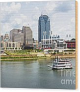 Cincinnati Skyline With Riverboat Photo Wood Print