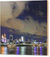 Cincinnati Skyscrapers Touch Clouds Wood Print