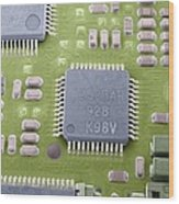 Circuit Board Microchip, Sem Wood Print by Steve Gschmeissner