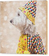 Circus Clown Dog Wood Print