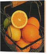 Citrus Fruit Basket Wood Print