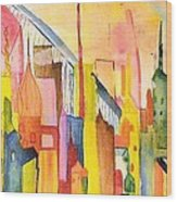 City   Wood Print by Katina Cote