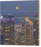 City And Moon Wood Print