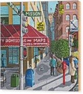 City Corner Wood Print