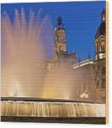 City Hall And Fountain At Dusk Wood Print
