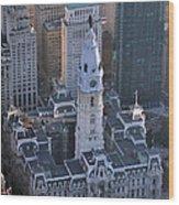 City Hall Broad St And Market St Philadelphia Pennsylvania 19107 Wood Print