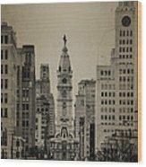 City Hall From North Broad Street Philadelphia Wood Print