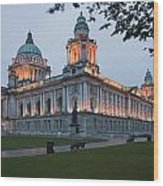 City Hall Illuminated Belfast, County Wood Print