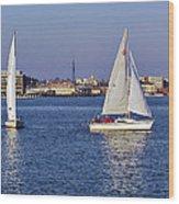 City Harbor Sailing Wood Print