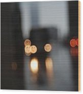City Headlights On A Dark Stormy Blurred Street Wood Print