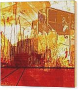 City in red and yellow Wood Print