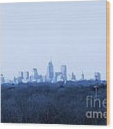 City In The Distance Blue Tint Wood Print