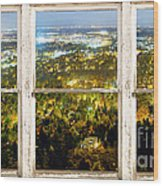 City Lights White Rustic Picture Window Frame Photo Art View Wood Print