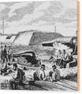 Civil War Battery Scene Wood Print